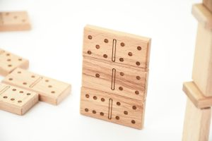 Beech tree wood dominoes with laser engraved spots