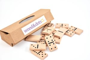 Beech tree wood dominoes with printed spots
